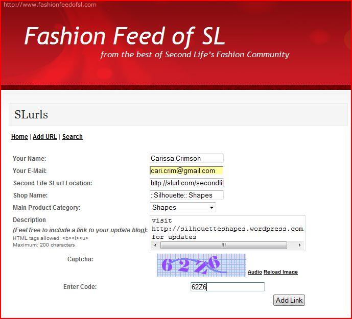 FashionFeedofSL Add SLurl to Directory
